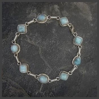 Mixed shape 9 stone Stirling Silver Larimar Bracelet